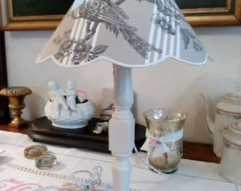 Wooden lamp base bronze old canvas striped Lampshade