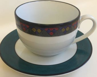 Dansk Emerald Braid Four Cups and Saucers