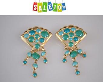 Berebi Malachite green Earrings Vintage1980s