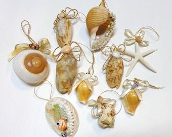 Set of 10 pc-Beach Theme Christmas Seashell Ornaments Decoration-Coastal Christmas Tree Ornaments-Mixed Real Seashell Tree Ornaments