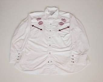 "Vintage 1980's H Bar California Ranchwear ""Cowboy"" Shirt Size 34-15.5 Neck"