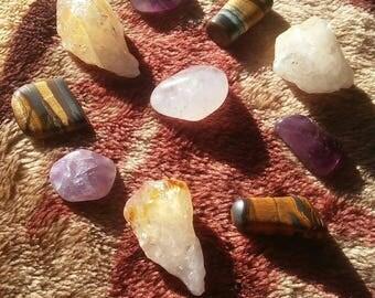 Powerful Crystal Set- High Vibration Stones- Auralite 23- Citrine Points- Tigers Eye- Reiki Stones- Meditation Stones- Gift for a Friend