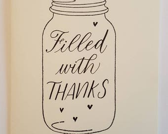 Jar Thank You Card - Filled with Thanks - Blank inside - Kraft envelope - Calligraphy - Jar Stamp - Cream cardstock
