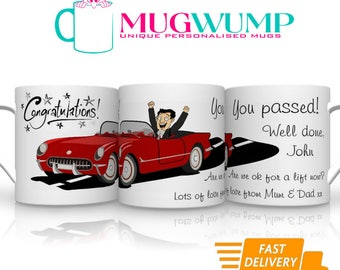 Personalised Driving Test Pass Male. Driving Test Pass Mug. You Passed Your Driving Test. Personalised Mugs.