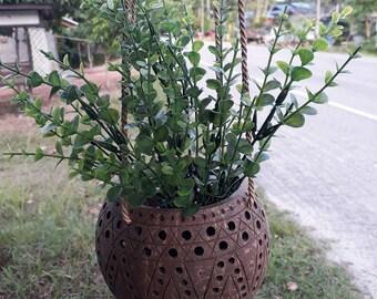 Coconut Shell Hanging Basket Planter Pot Natural Color Handicrafts Stencil  Style