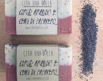 natural orange poppy seed Scrubs and vegan SOAP with olive oil and pure essential oil