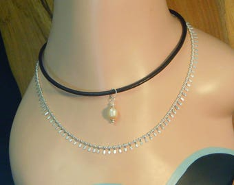 Necklace N103 Leather and Pearl