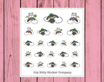 St. Patricks Day Mauly - Hand Drawn IttyBitty Kitty Collection - Planner Stickers