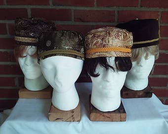 Victorian gentlemen's smoking/lounging caps in shades of brown