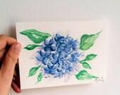 Carte postale, carte aquarelle, aquarelle unique, bretagne, hortensia, fleurs, carte floral, peinture floral, carte bleue, carte peinte,