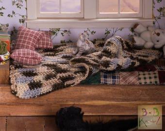 Miniature Crocheted Blanket (Brown, Tan, & Blue Variegated) -- Dollhouse Miniature 1:12 Scale