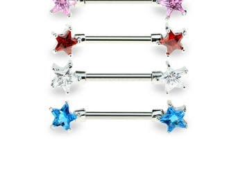 Double Star CZ Prong Set 316L Surgical Steel Nipple Bar