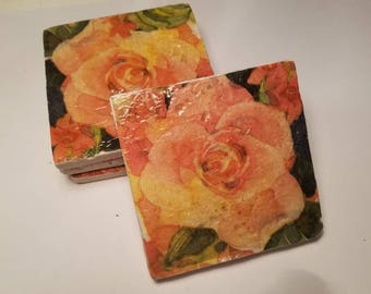 Ceramic coasters with peachy colored roses. Set of 4.