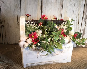 Wood Box with Vintage Spindle Handle Cotton Pod Floral Arrangement, Spring Arrangement, Summer Arrangement, FAAP, Table Arrangement,