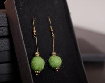 Green Felted Earrings