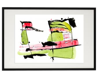 Abstract Watercolor Print Green Red Wall Art Forma 8 Srains Minimalist Art Painting Download Printable Poster Modern  Minimal