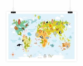 PT-049 adorable kids modern world map