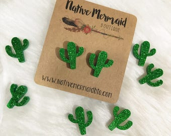 Green Glitter Cactus Studs || Cactus Earrings || Cactus Jewelry || Cactus Stud Earrings || Cute Cactus || Cactus || Glitter Cactus | Earring
