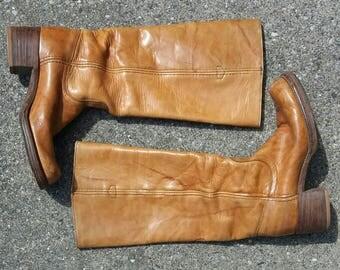 Vintage FRYE 1970s campus boots in cognac size 7.5 size 7 1/2