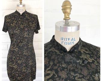 Black and gold  mandarin collar cheongsam dress / Size L