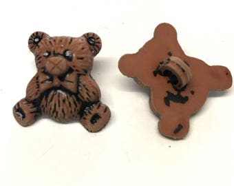 10 brown teddy bear buttons, brown bear buttons, brown novelty buttons, brown childrens buttons, brown 15mm buttons, baby buttons