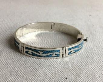 Vintage Taxco Inlaid Turquoise Bracelet