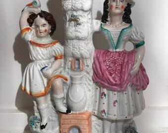 An Antique Victorian Staffordshire Spill Vase