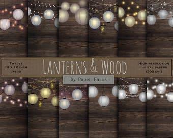 Lights on wood, lanterns on wood, strings of light, wood background, invitation supplies, mason jar, light strings, digital paper, DOWNLOAD
