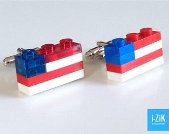 LEGO CUFFLINKS - Usa Flag Cufflinks - Silver Plated Cufflinks - Handmade LEGO(r) Bricks Cufflinks - Large size -  CU0202