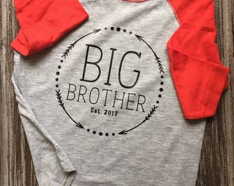 Big Brother Shirt, Big Sister Shirt, Little brother, little sister; Big Brother Raglan; toddler raglan; big brother announcement shirt