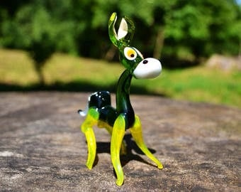Glass Donkey miniature sculpture toys donkey magical gift little animal lampworking kids toy paperweight murano style unique figurines green