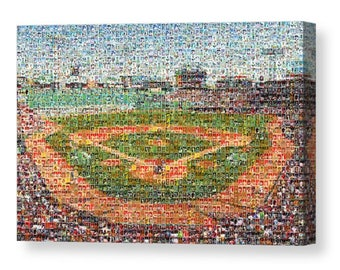 Unique Boston Red Sox Mosaic Art UV Color Print of Fenway Park from 300 Red Sox Player Cards Images.  All the Greats Included.