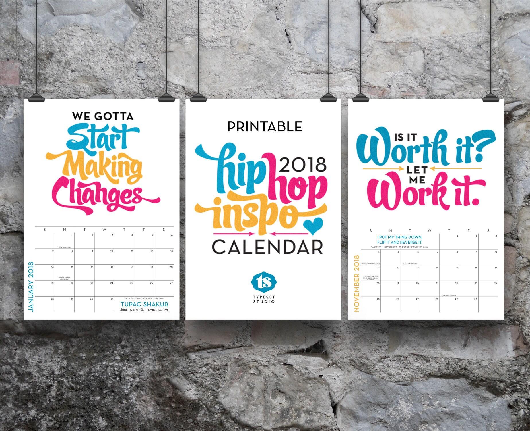Printable 2018 Wall Calendar 8x10 Hip-Hop Lyrics Inspiration