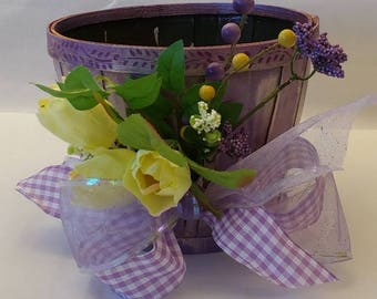 """Small Wooden Spring Planter """"GRAPE ICE"""""""