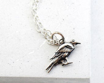 Silver Raven Necklace | Bird Necklace | Woodland Jewelry | Talisman | Charm Necklace | Sterling Silver