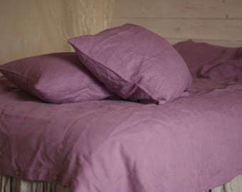 LINEN DUVET COVER set with two pillowcases 100% natural flax washed linen bedding Us Full/double size