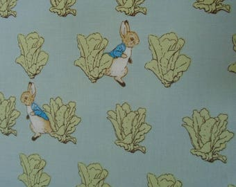 New Official Beatrix Potter Fabric - Teal 2 Design - Peter Rabbit. Peter Rabbit Dress Craft Fabric Sold By the Meter 112cm Wide