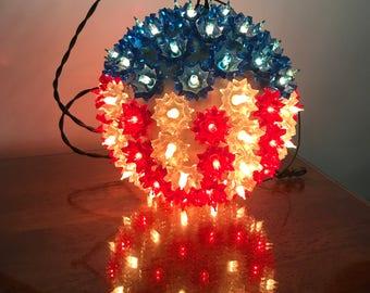 Patriotic Red White Blue Hanging Globe Light