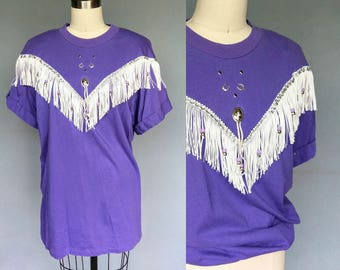 rodeo / 1980s purple country western fringe t shirt / large xl