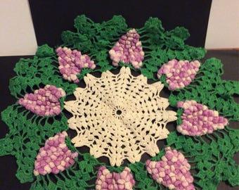 """15"""" Round Doily, Handmade Grape design"""