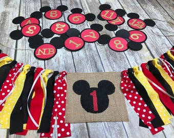 Mickey Mouse Birthday Banner set First Birthday set,High Chair Banner,Mickey Mouse First Year Picture Banner,Mickey Mouse High Chair Banner