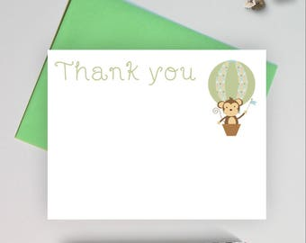 Baby shower thank you note cards, thank you cards set,  thank you notes, thank you cards baby shower, baby stationery, monkey note card, MBB
