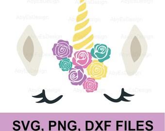Unicorn SVG , Unicorn face, unicorn floral, rainob, floral  DXF, PNG, silhouette, cricut, Cut Files.