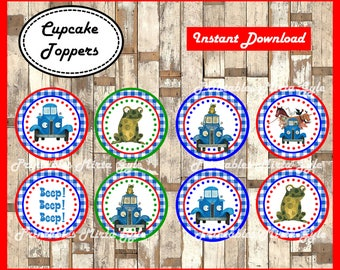 Little Blue Truck cupcakes toppers, printable Little Blue Truck party toppers, Little Blue Truck cupcakes toppers