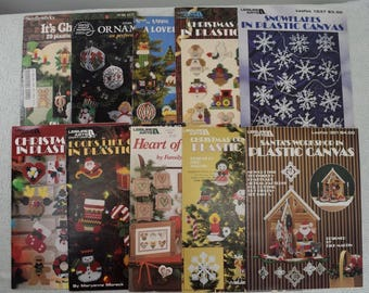 Lot of 10 Craft Plastic Canvas Cross Stitch Christmas Leaflets 1980s - 1990s