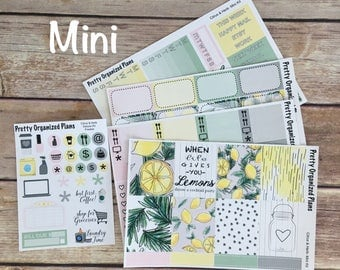 30% OFF! MINI KIT | Citrus & Herb | Weekly Sticker Kit for Erin Condren Vertical Layout | 8 Pages, 230+ Stickers