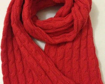 Beautiful red color scarf/Knitted Scarf /Women Scarf / Long Scarf / Accessories