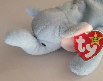 TY Beanie Babies Peanut Light Blue Elelphant Original with Tag 1995 January 25