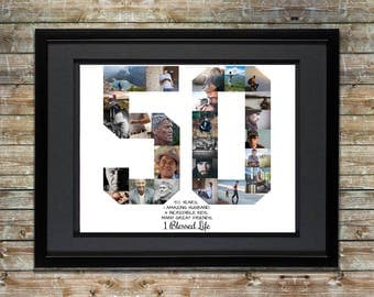 Personalized Photo Collage, Number Photo Collage, 50th Anniversary, 50th Birthday Custom Photo Collage, Photo Collage Gift