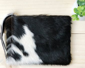 Cowhide clutch Hair on Hide clutch Cowhide Pouch Grey White